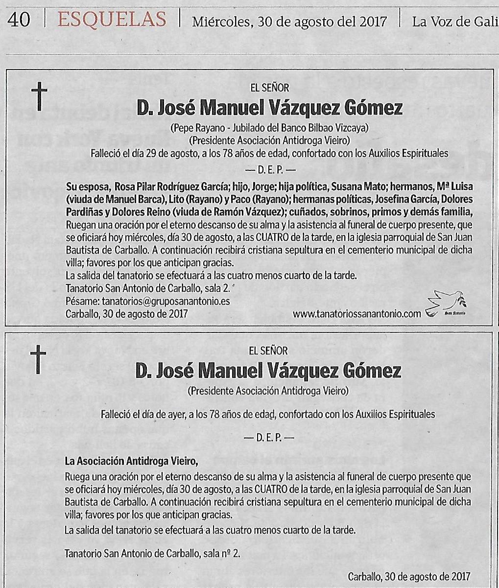 Esquela Diario La Voz De Galicia Vieiro